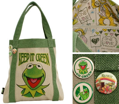 tote 0057 Its easy to be green with the Kermit canvas tote