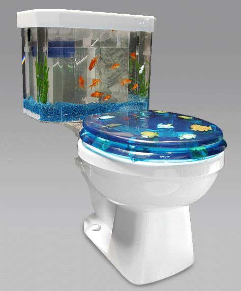 i want this yesterday a fish tank toilet one more gadget