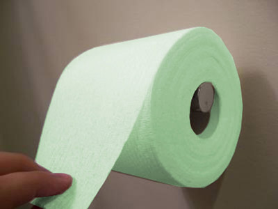 glow in the dark toilet paper Glow in the dark toilet paper is really weird and thankfully non toxic