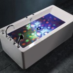 underwater disco lightshow 150x150 For babies on the go its a foldable baby bathtub