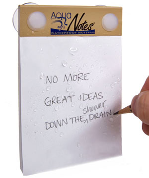aquanotes waterproof notepad Saving ideas in the shower, the AquaNotes Waterproof Notepad