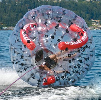 spinning tow ball 2 Inflatable balls holding people going 45mph on water? Yes please.