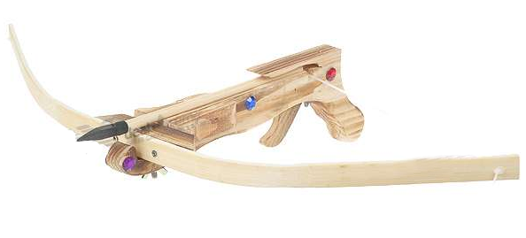 Charming wooden crossbow bejewelled
