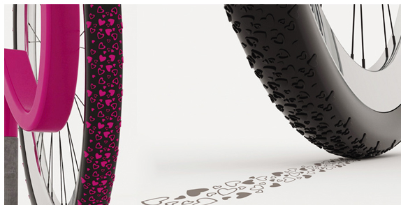 heart bike tire treads A cool bike tire tread design that spreads the love