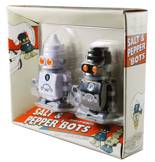 Salt and pepper robot shakers package design Paying my compliments to the condiments, its Salt & Pepper Robots