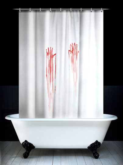 psycho shower curtain Martha Stewart would not approve of these shower curtains, but Norman Bates on the other hand...
