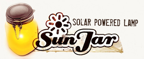 sunjar logo Capture the sun and save it for later with the Solar Powered Sun Jar Lamp