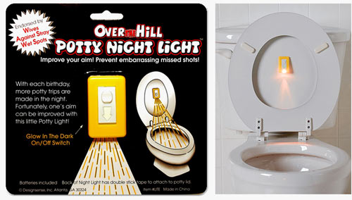 over the hill potty night light We once were lost, but now we pee. Pee in the dark that is, with this handy little gadget