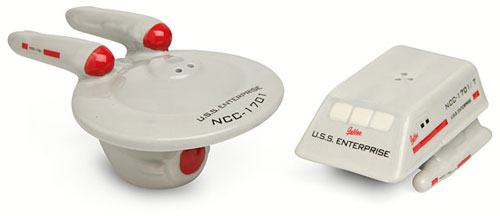 star trek uss enterprise and shuttle salt and pepper shakers 20 of The Most Creative and Coolest Salt and Pepper Shakers Around
