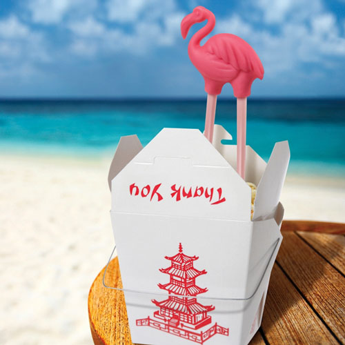 trop sticks chopsticks from the tropics detail Stick it to your Take Out with Trop Sticks Flamingo Chopsticks