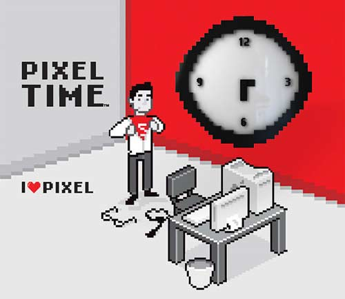 pixel time wall clock Everybody STOP. Pixel Time. The Pixel Wall Clock for 8bit lovers