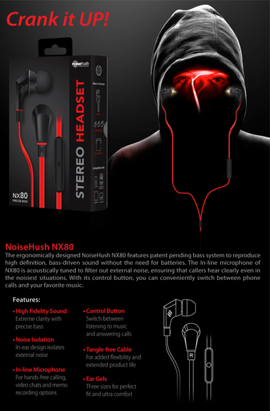 noise hush package back Noise Hush Stereo Headset removes background noise and turns your head into a woofer