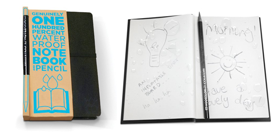 waterproof notebook Waterproof Notebook gets wet and keeps your words dry