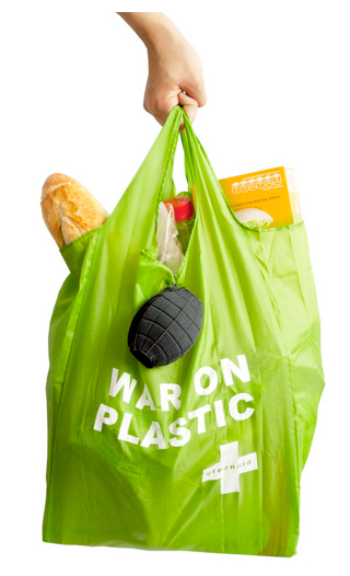 war on plastic grenade bag holder Green Aid fights the war on plastic with a resusable bag in a portable plush grenade