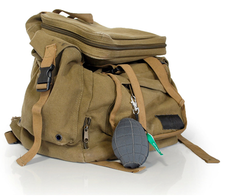 war on plastic grenade holder Green Aid fights the war on plastic with a resusable bag in a portable plush grenade