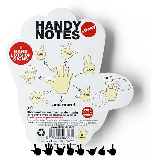 Hand Signs Sticky Notes Pad Possibly the coolest evolution of the sticky note, ever. Handy Notes