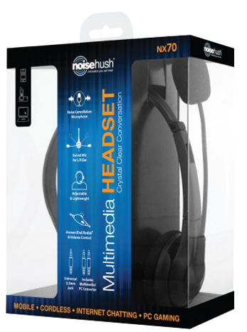 Noisehush Headset in box Ready, Set, Talk, with the NoiseHush NX70 3.5mm Multimedia Headset
