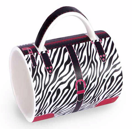 zebra fashion coffee mug Designer coffees deserve a designer coffee mug, its a Zebra Purse mug for the fashionable coffee drinker