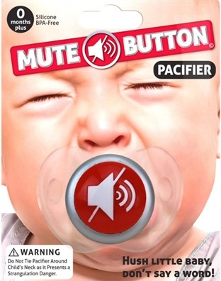 Baby Mute Button Pacifier One More Gadget e1418284108710 New parent? Heres the second greatest gift you can give yourself